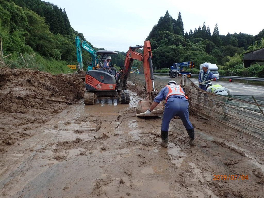 九州南部豪雨災害作業中